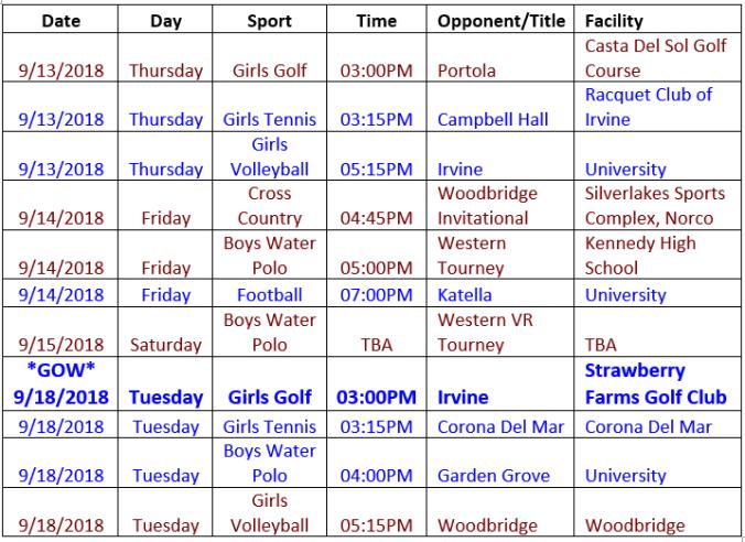 Sept. 13 schedule