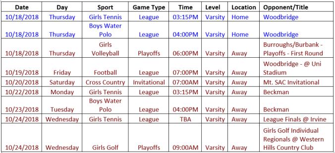 schedule 10.18-10.24