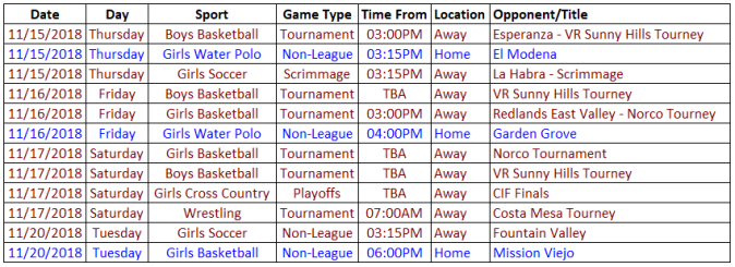 Schedule 11.15-11.21