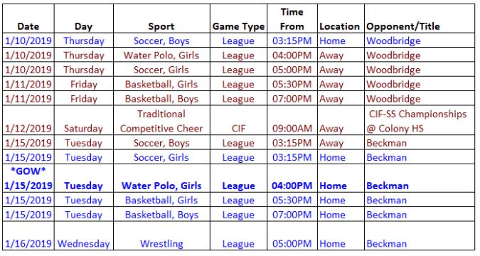 schedule 1.10.19