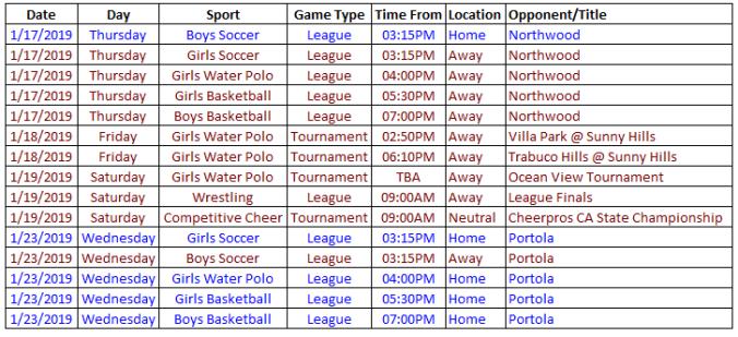 schedule 1.17.19