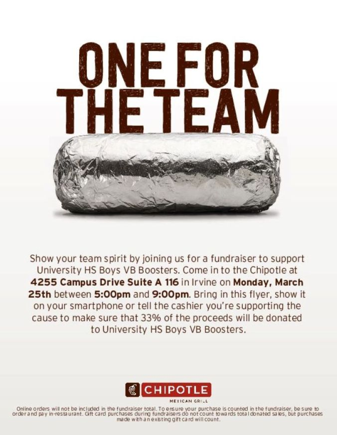 Boys Volleyball Chipotle fundraiser
